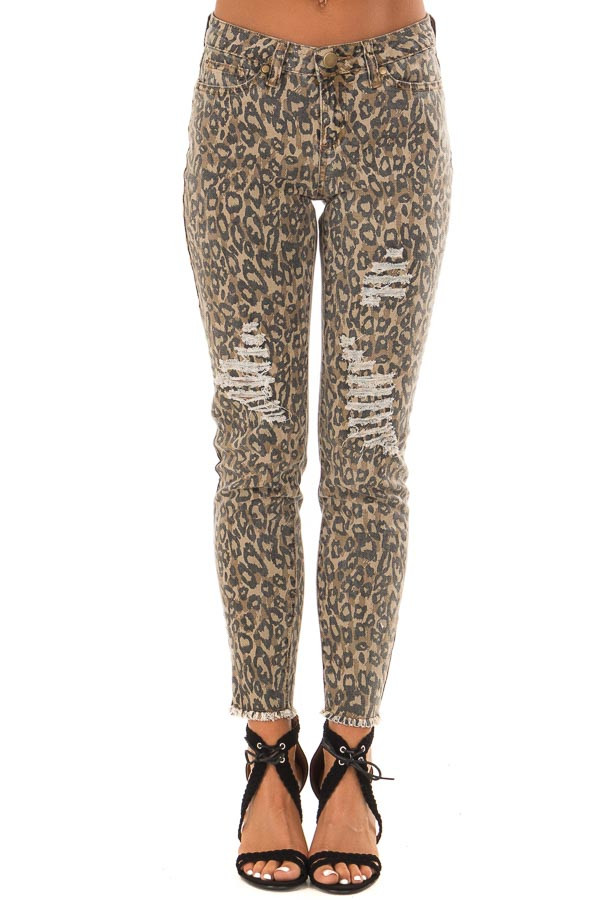 Taupe Animal Print Mid Rise Distressed Denim Jeans front view