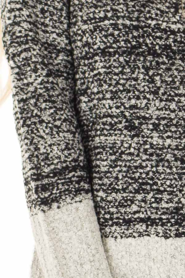 Obsidian Black Two Tone Sweater with Contrast Hem and Cuffs detail