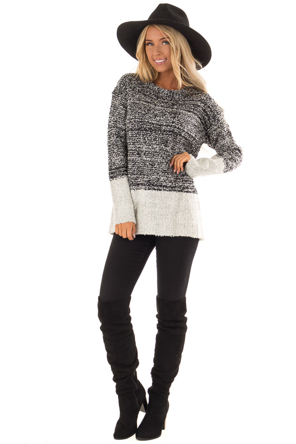 Obsidian Black Two Tone Sweater with Contrast Hem and Cuffs front full body
