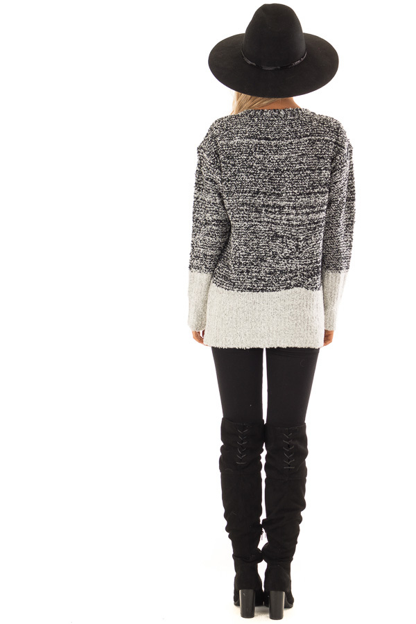 Obsidian Black Two Tone Sweater with Contrast Hem and Cuffs back full body
