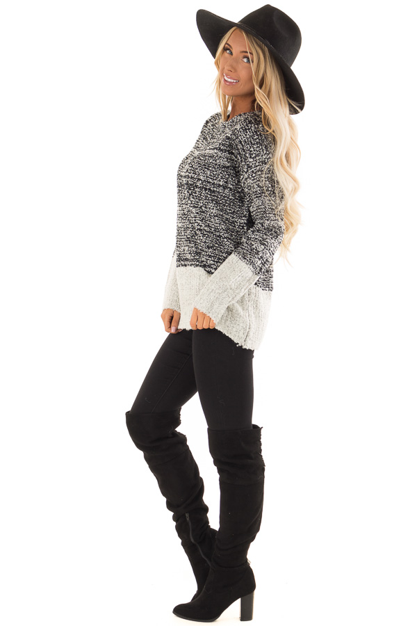 Obsidian Black Two Tone Sweater with Contrast Hem and Cuffs side full body