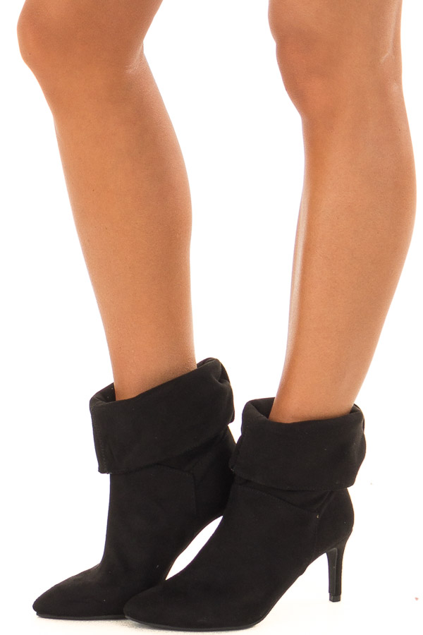 70bc0ed8375c Black Faux Suede Pointy Kitten Heel Boots - Lime Lush Boutique