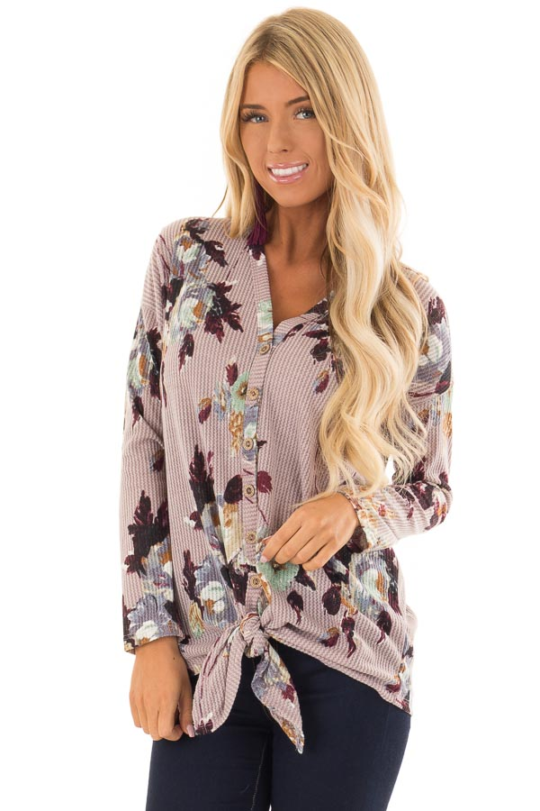 bb00424aff63b Lilac Floral Print Long Sleeve Button Up Top with Front Tie front close up