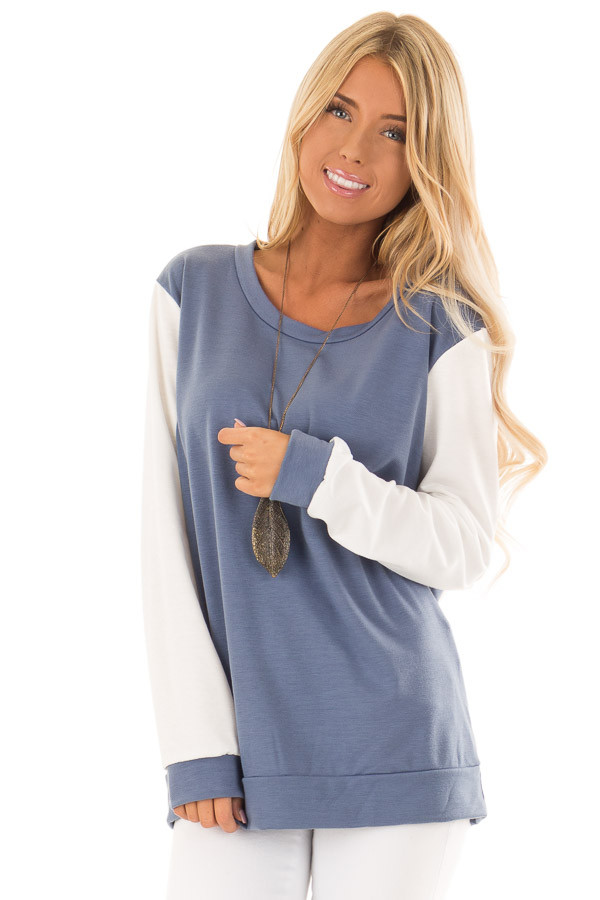0acb5022afcc5 Steel Blue and Off White Long Sleeve Color Block Top - Lime Lush ...