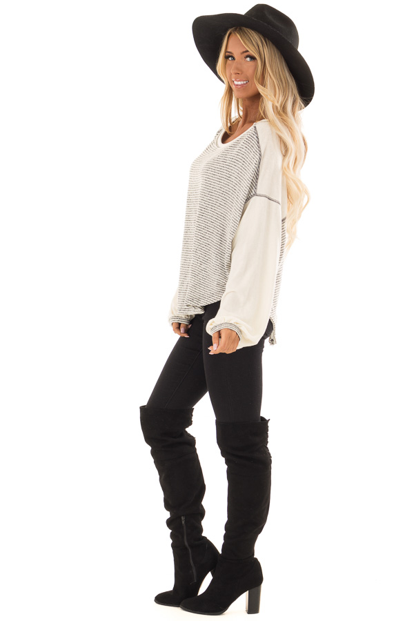 Heather Grey and Cream Striped Top with Long Bubble Sleeves side full body