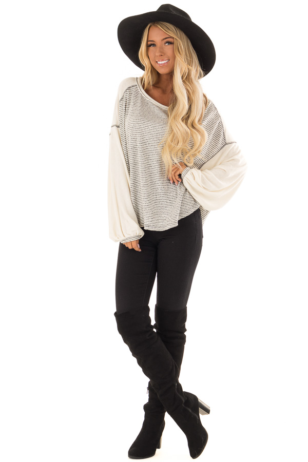 Heather Grey and Cream Striped Top with Long Bubble Sleeves front full body