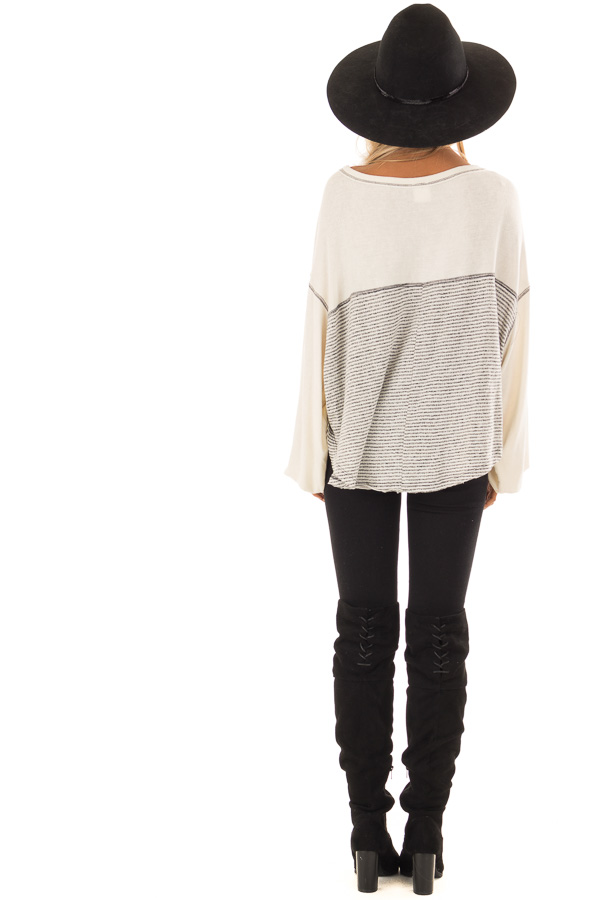 Heather Grey and Cream Striped Top with Long Bubble Sleeves back full body
