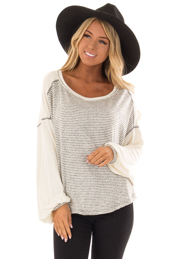 Heather Grey and Cream Striped Top with Long Bubble Sleeves front close up