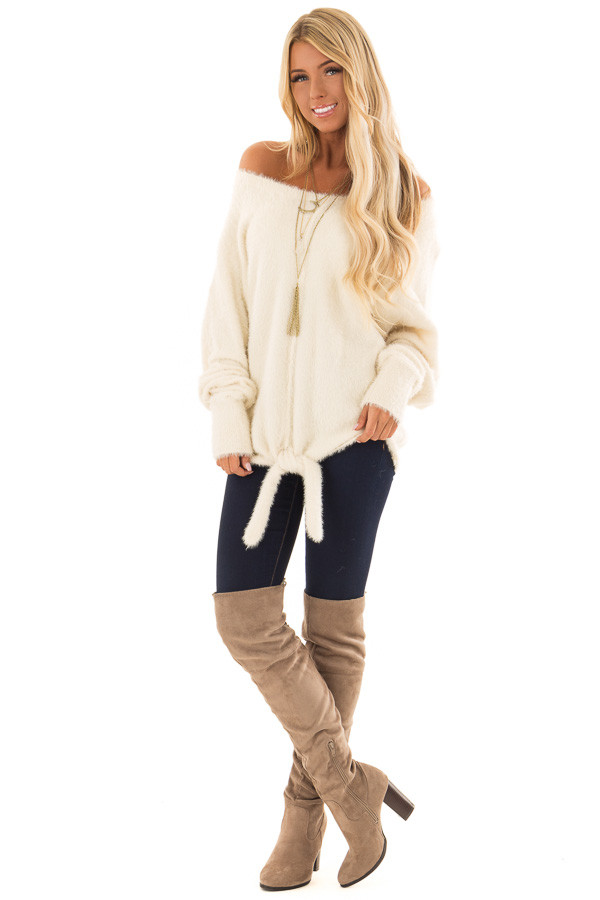 Cream Long Sleeve Fuzzy Knit Sweater with Front Tie Detail front full body