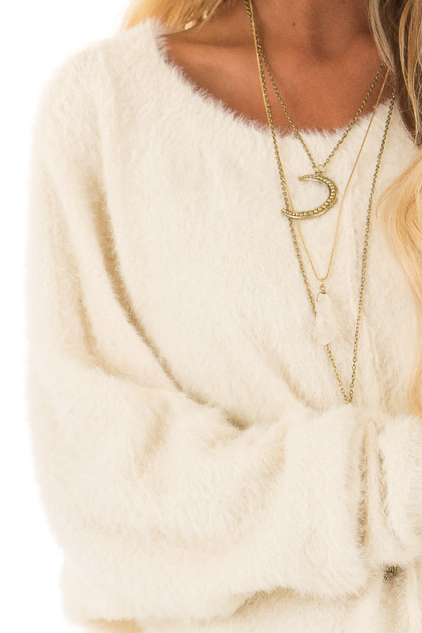Cream Long Sleeve Fuzzy Knit Sweater with Front Tie Detail detail