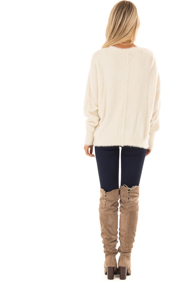 Cream Long Sleeve Fuzzy Knit Sweater with Front Tie Detail back full body