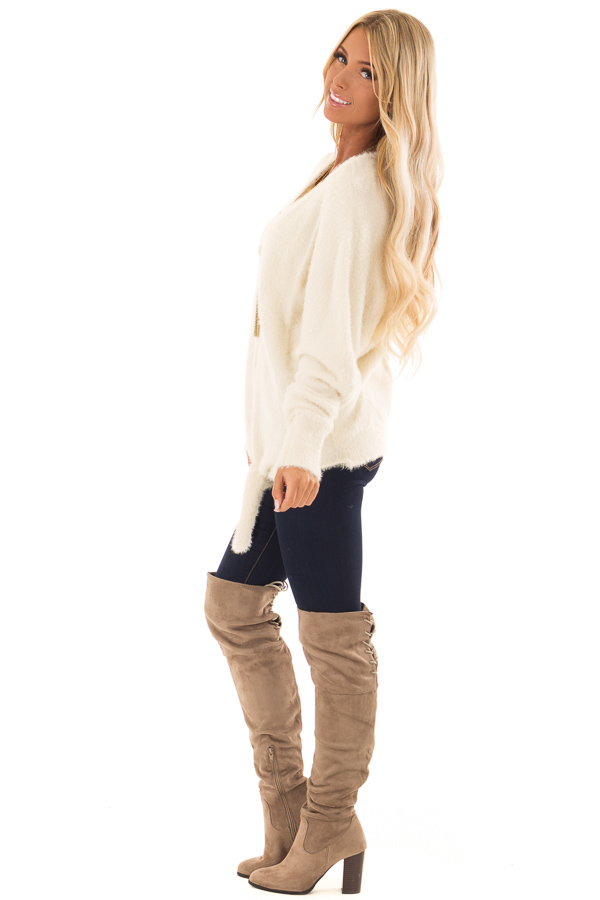 Cream Long Sleeve Fuzzy Knit Sweater with Front Tie Detail side full body