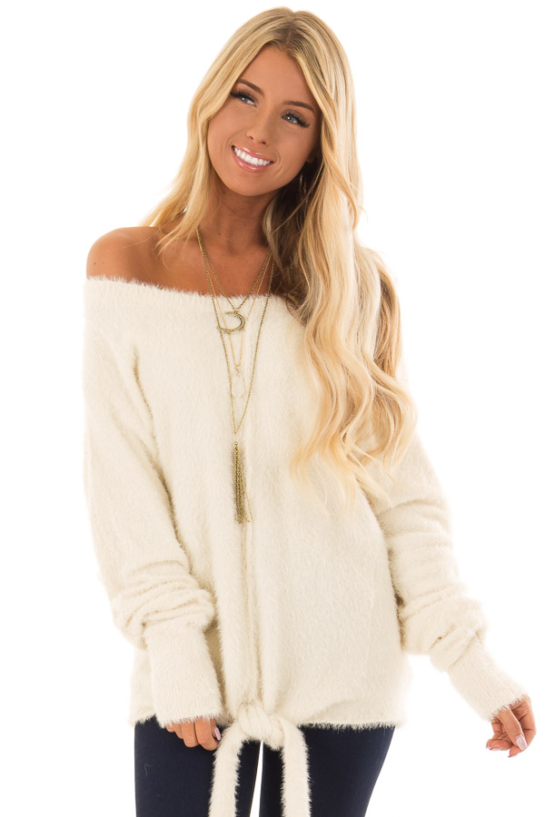 Cream Long Sleeve Fuzzy Knit Sweater with Front Tie Detail front close up