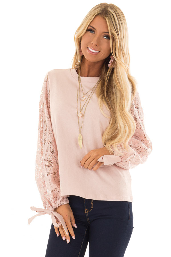 Blush Mock Neck Top with Sheer Lace Sleeves and Wrist Ties front close up