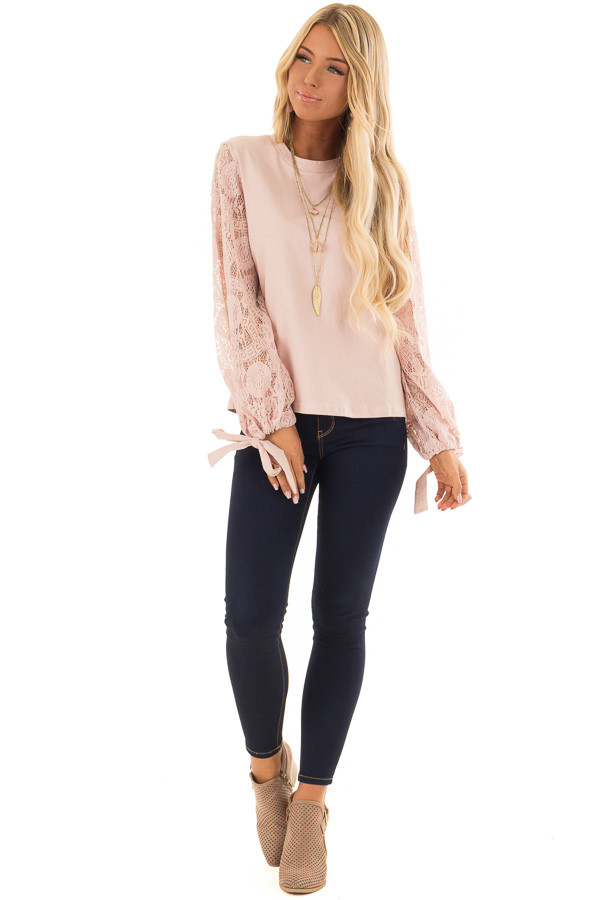 Blush Mock Neck Top with Sheer Lace Sleeves and Wrist Ties front full body