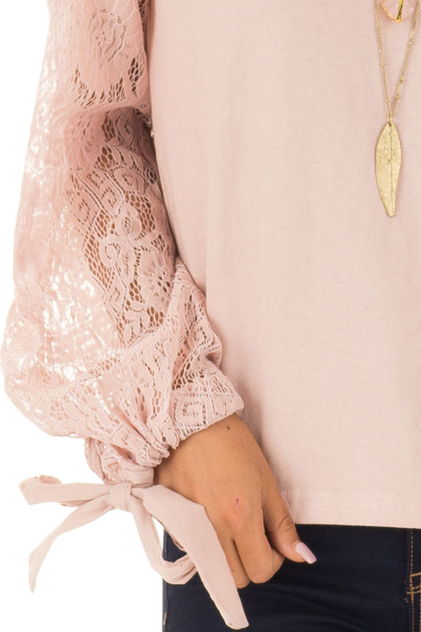 Blush Mock Neck Top with Sheer Lace Sleeves and Wrist Ties detail