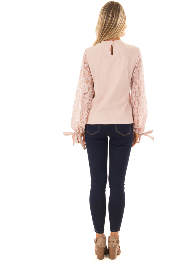 Blush Mock Neck Top with Sheer Lace Sleeves and Wrist Ties back full body