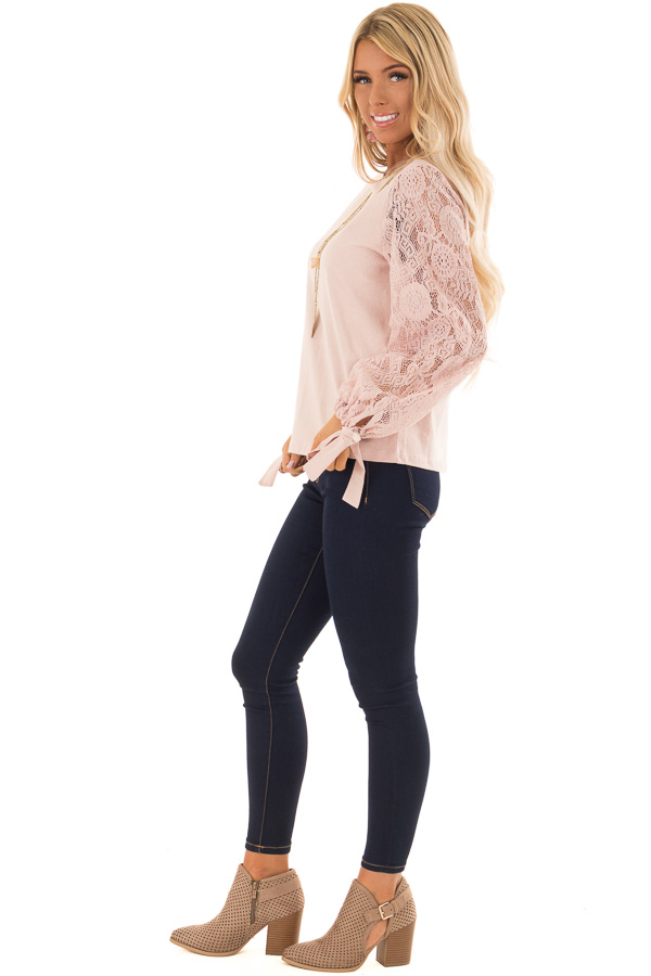 Blush Mock Neck Top with Sheer Lace Sleeves and Wrist Ties side full body