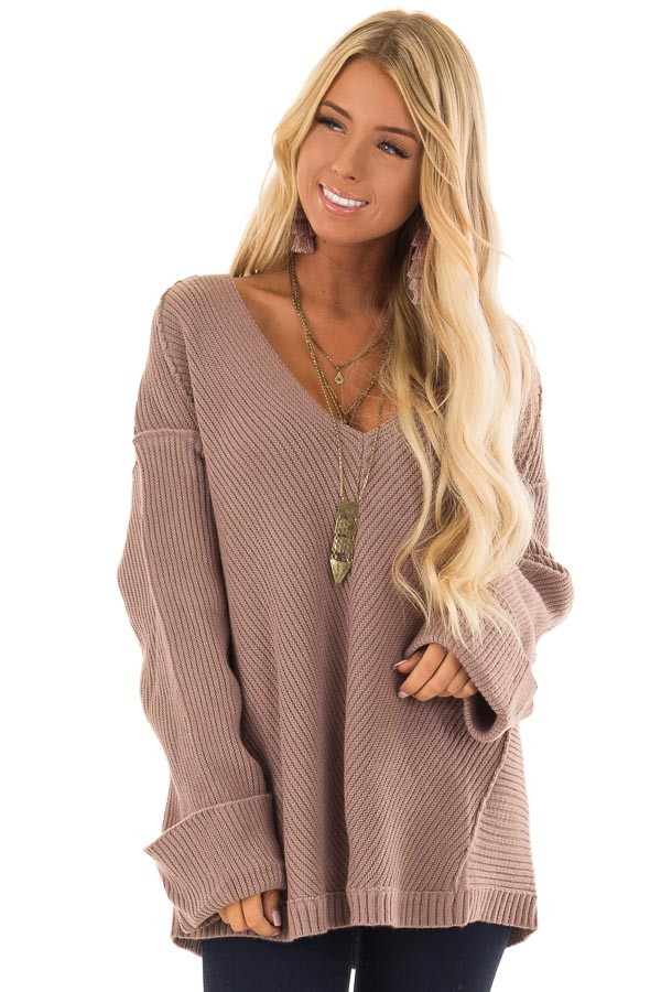 79d5a9f14 Mauve Oversized Ribbed Knit Long Sleeve Sweater - Lime Lush Boutique