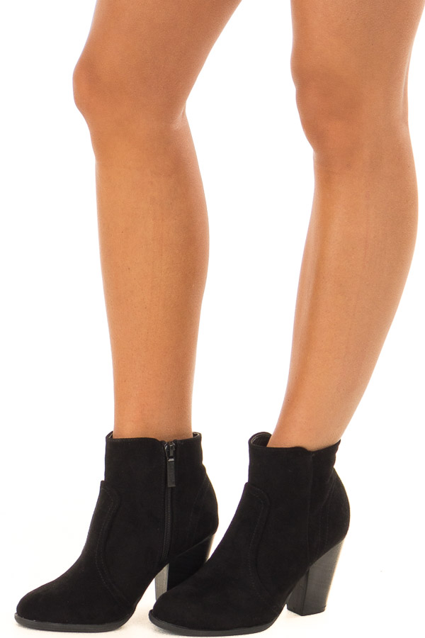 Black Suede Booties With Stacked Block Heel front side view