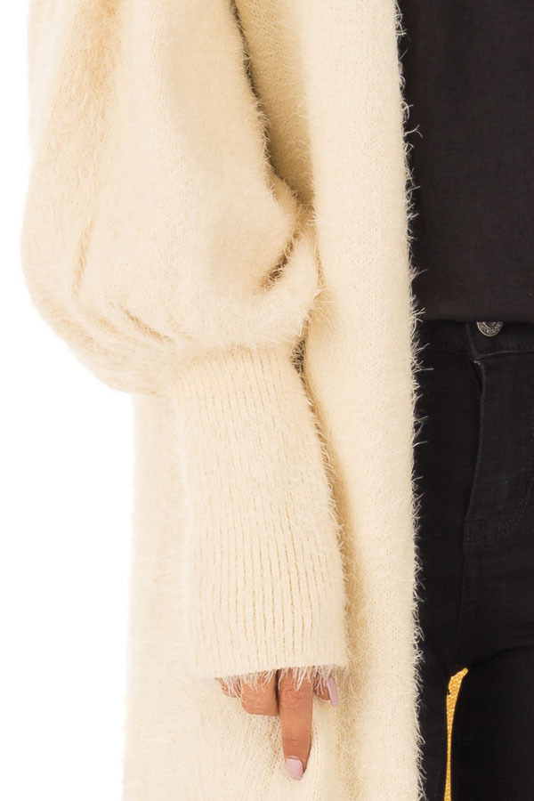 Cream Super Soft Fuzzy Cardigan with Long Balloon Sleeves detail