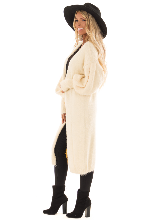 Cream Super Soft Fuzzy Cardigan with Long Balloon Sleeves side full body