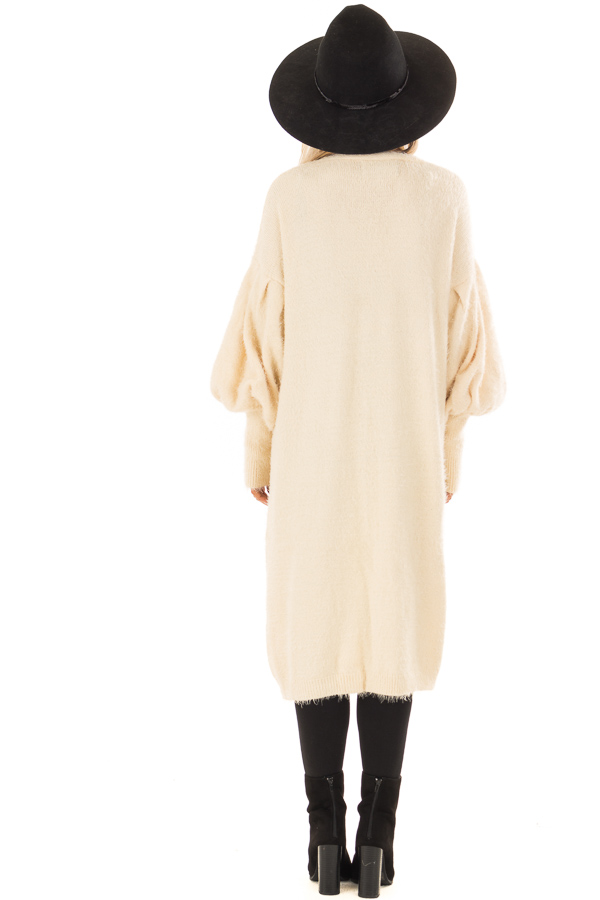 Cream Super Soft Fuzzy Cardigan with Long Balloon Sleeves back full body