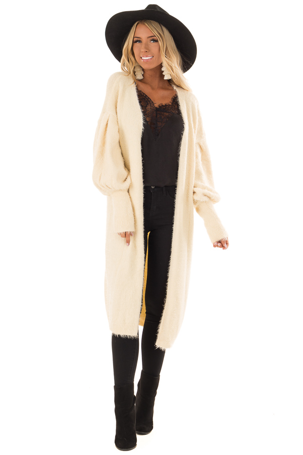 Cream Super Soft Fuzzy Cardigan with Long Balloon Sleeves front full body