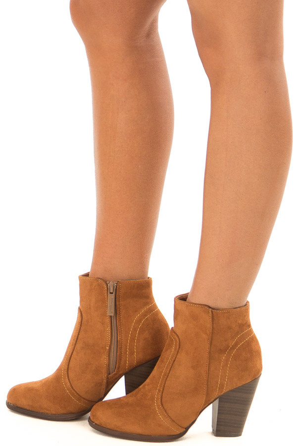 Ginger Suede Booties With Stacked Block Heel side view