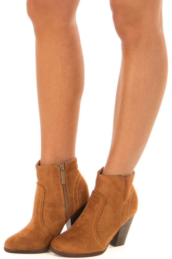 Ginger Suede Booties With Stacked Block Heel front side view
