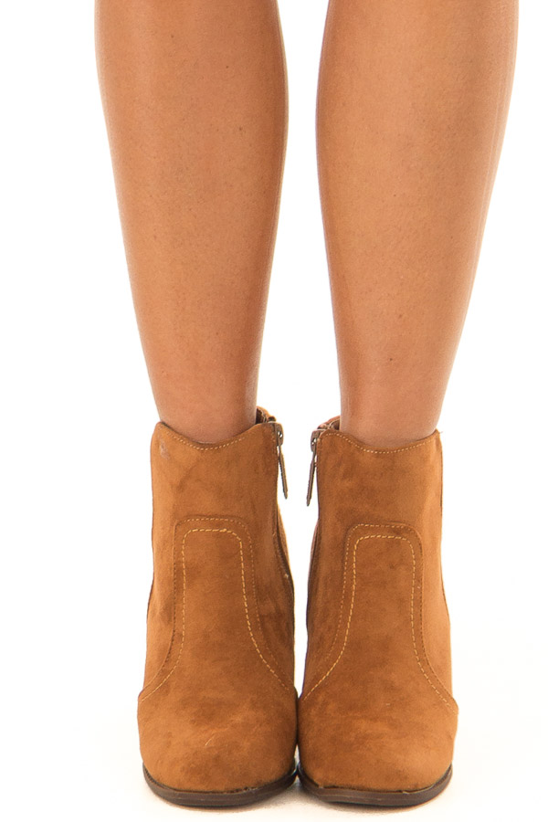 Ginger Suede Booties With Stacked Block Heel front view