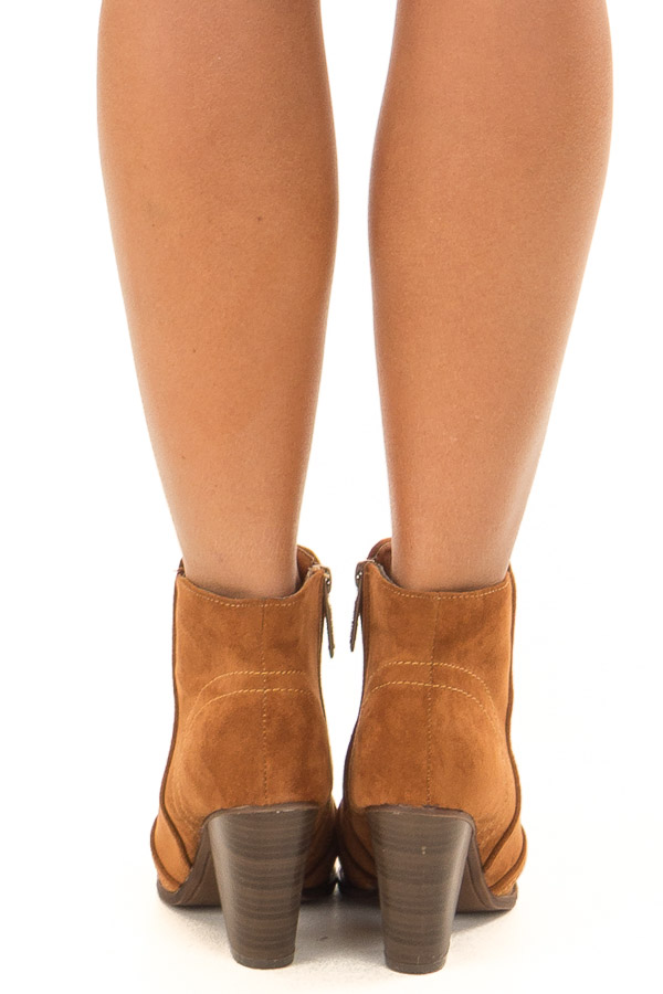Ginger Suede Booties With Stacked Block Heel back view