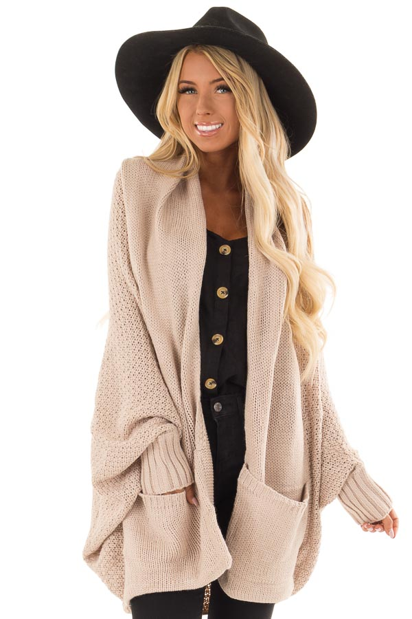 dc23100f9e Beige Thick Knit Cardigan with Dolman Sleeves - Lime Lush Boutique