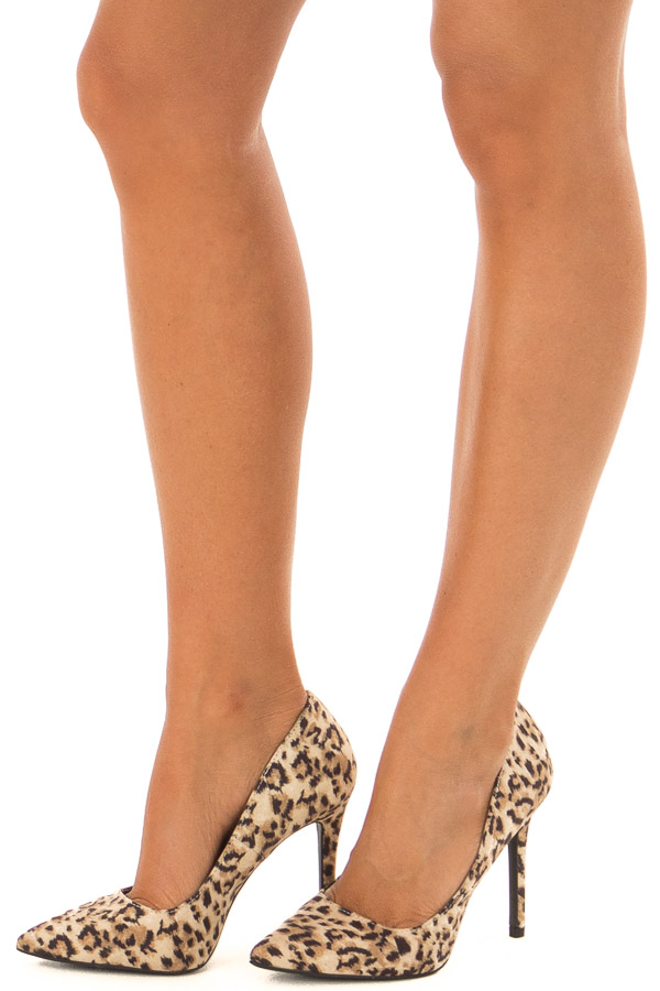 Leopard Print Faux Suede Stiletto Pump front side view
