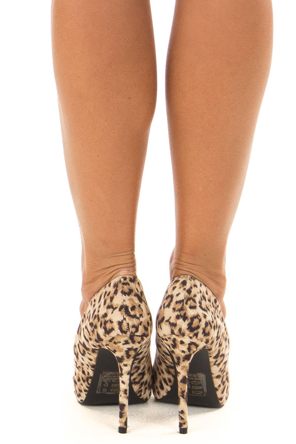 Leopard Print Faux Suede Stiletto Pump back view