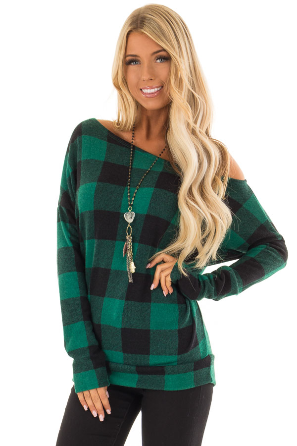 b84fe7838fbee Hunter Green and Black Plaid Off Shoulder Knit Top - Lime Lush Boutique