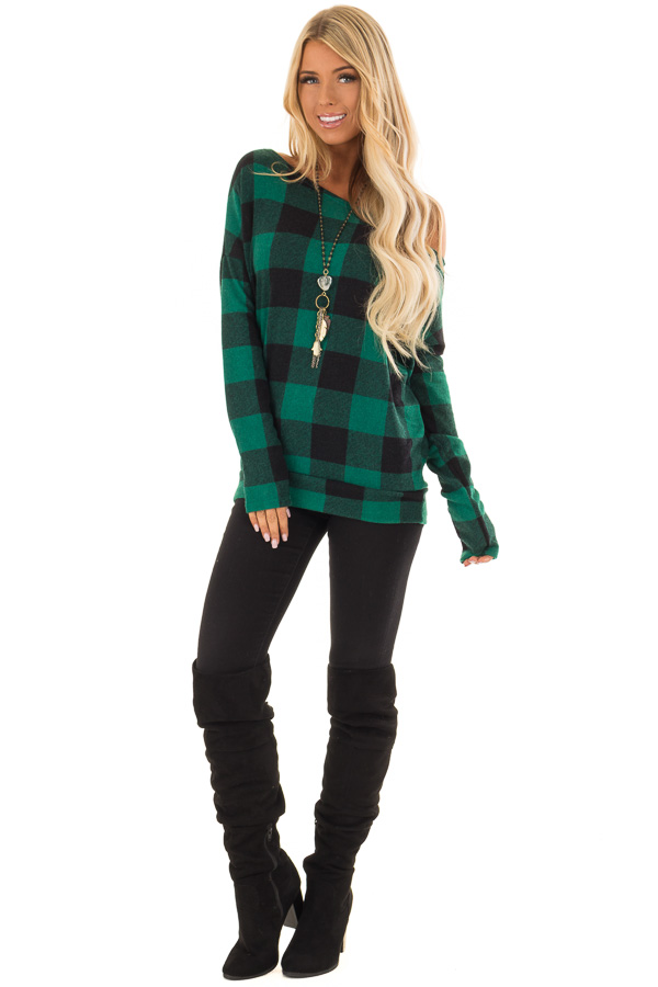 1a10b2e59d99e ... Hunter Green and Black Plaid Off Shoulder Knit Top front full body ...