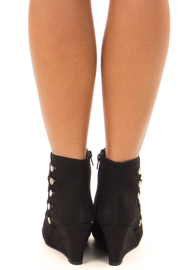 Black Wedge Booties with Side Zipper and Button Detail back view