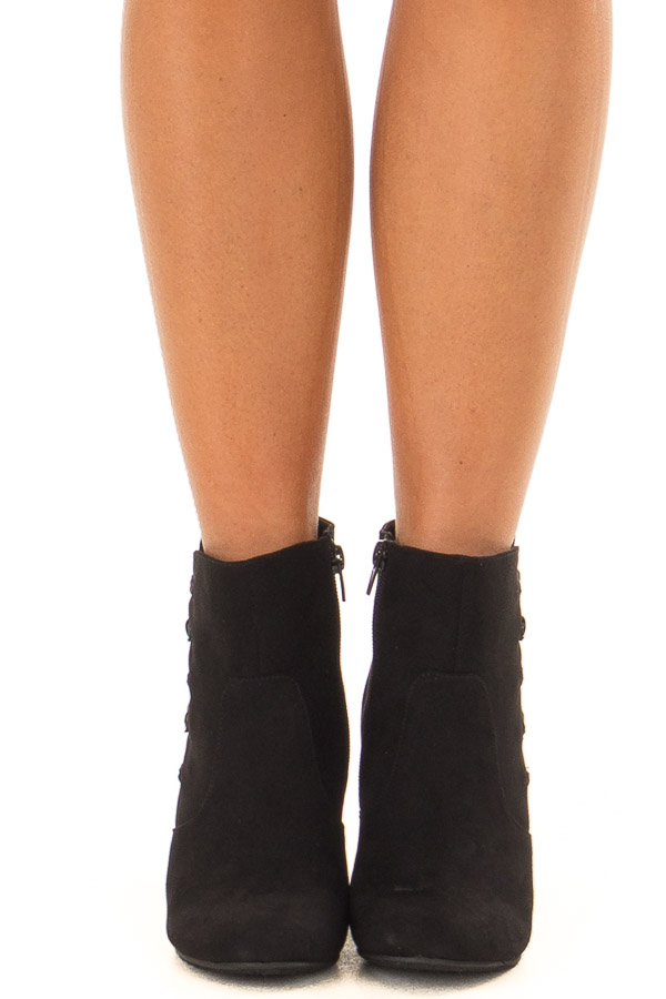 Black Wedge Booties with Side Zipper and Button Detail front view