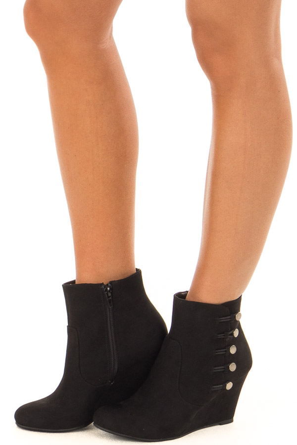 Black Wedge Booties with Side Zipper and Button Detail front side view