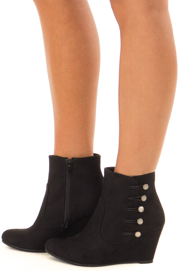 Black Wedge Booties with Side Zipper and Button Detail side view