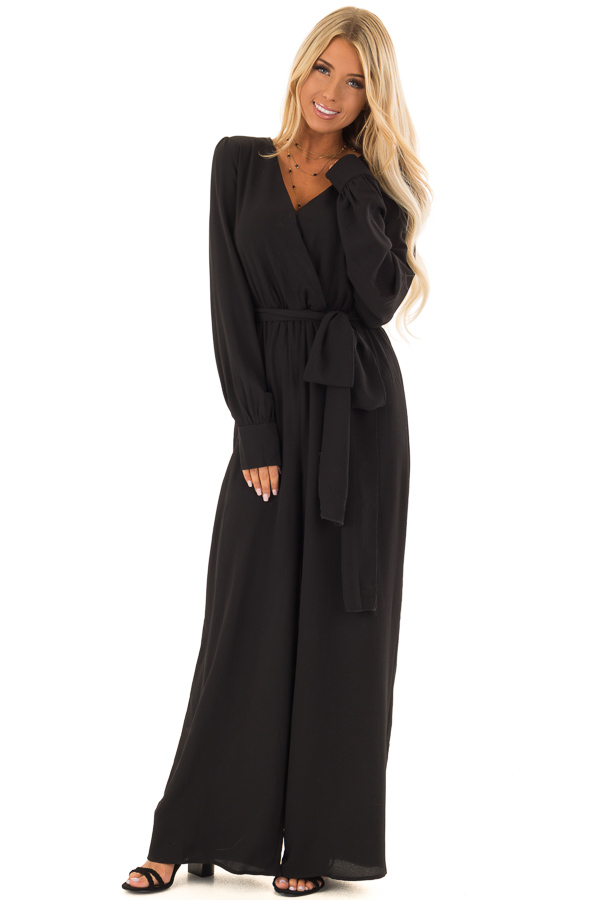 6da30da7fae Black V Neck Jumpsuit with Long Bishop Sleeves and Waist Tie front full body