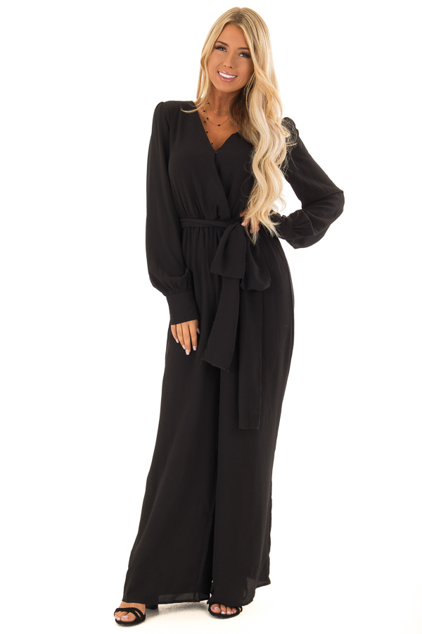 becb97ef079 ... Black V Neck Jumpsuit with Long Bishop Sleeves and Waist Tie front full  body ...