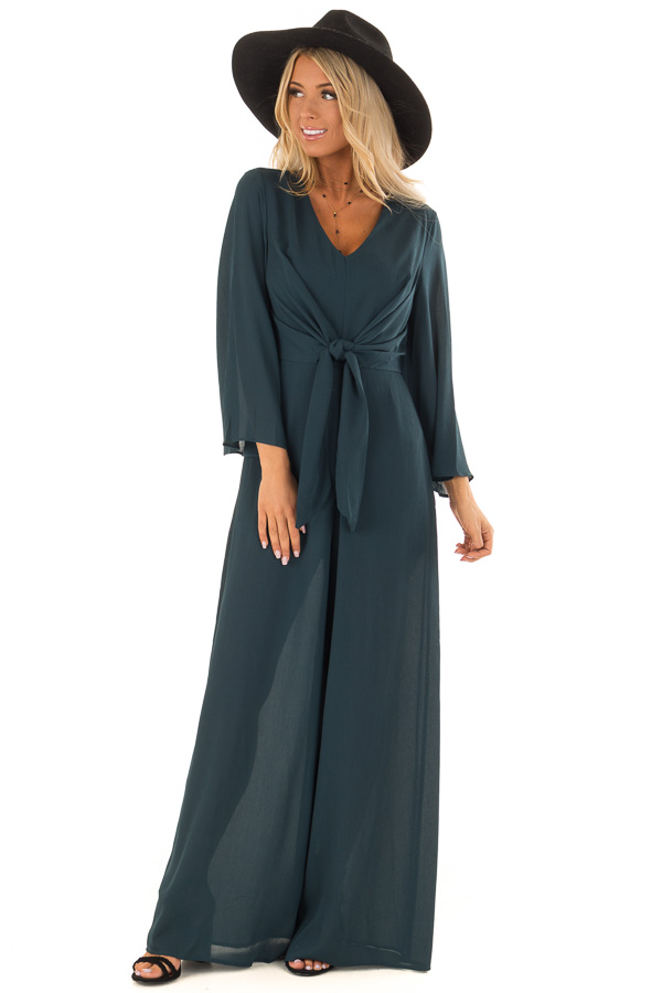 2b9dd2101056e Teal Green Long Wide Sleeve Jumpsuit with Front Tie Detail front full body