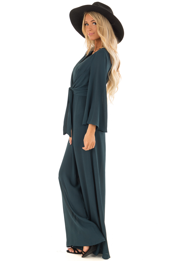 e89e2ae6c0c ... Teal Green Long Wide Sleeve Jumpsuit with Front Tie Detail side full  body ...