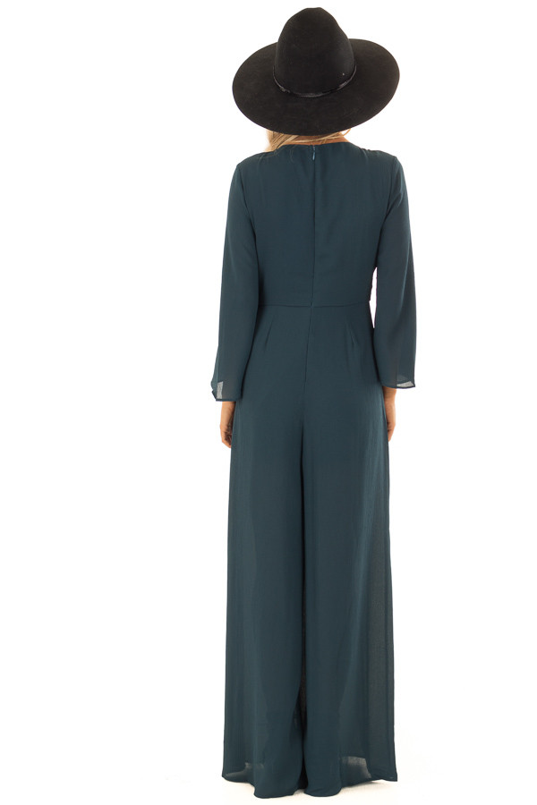 8a62f323dc1 ... Teal Green Long Wide Sleeve Jumpsuit with Front Tie Detail back full  body ...