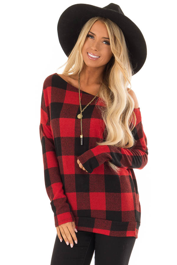 62c3eb235fae47 Cherry Red and Black Plaid Off Shoulder Long Sleeve Top - Lime Lush ...