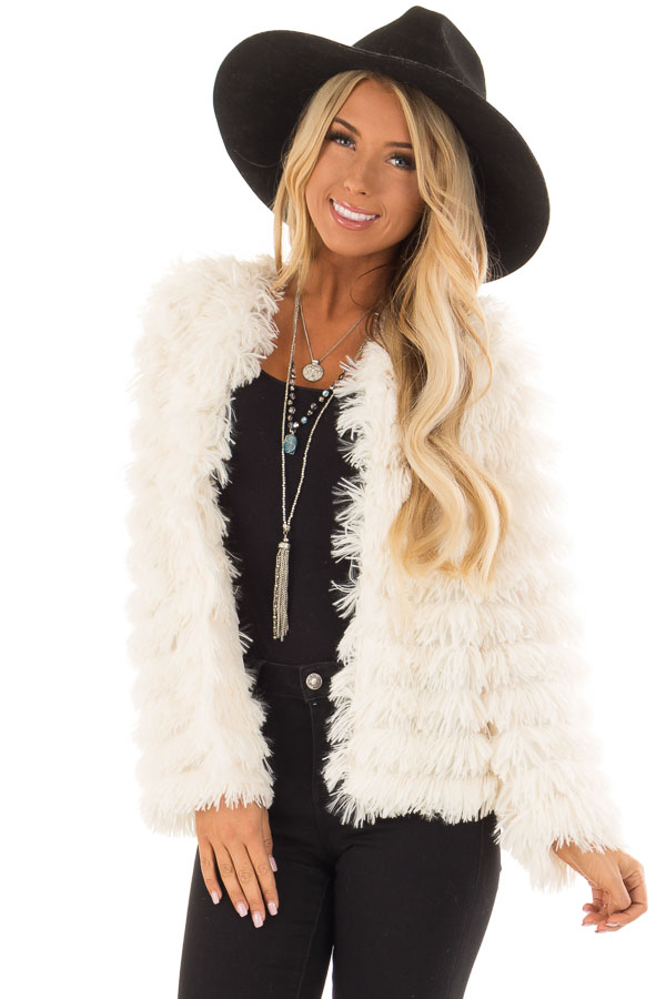 Cream Long Sleeve Soft Layered Faux Fur Coat front close up