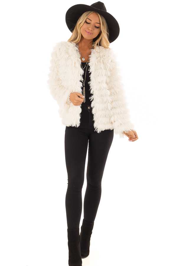 Cream Long Sleeve Soft Layered Faux Fur Coat front full body