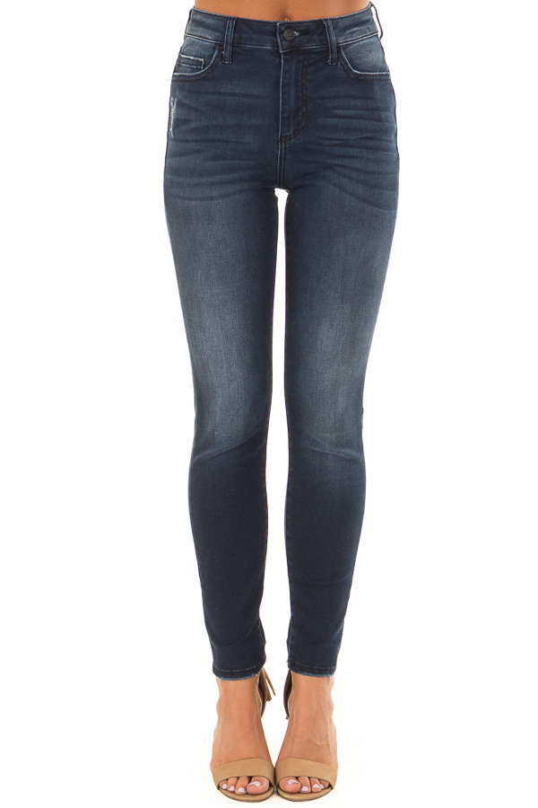 Dark Wash High Rise Skinny Jeans front view